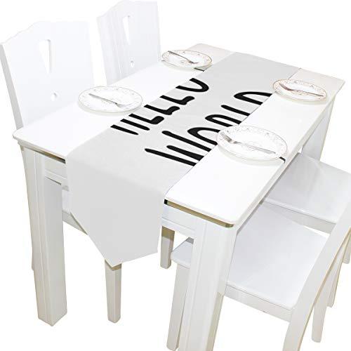 Yushg Hallo Beschriftung Willkommen Welt Kommode Schal Tuch Abdeckung Tischläufer Tischdecke Tischset Küche Esszimmer Wohnzimmer Home Hochzeitsbankett Dekor Indoor 13x90 Zoll