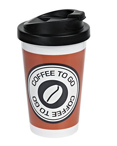 Infinite by gEDA lABELS 12593 coffee to go gobelet en polypropylène double paroi motif arabesque orange