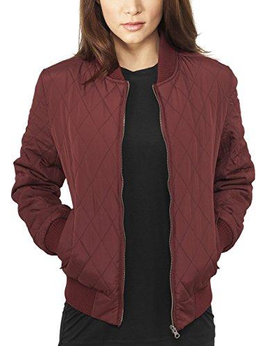 Urban Classics Damen Jacke Ladies Diamond Quilt Nylon Jacket, Rot (Burgundy 606), 38 (Herstellergröße: M)