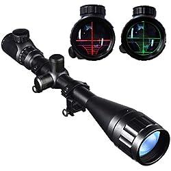 Lunette De Visée 6-24x50mm avec Réticule Lumineux Optique Rouge/Vert Rifle Scope pour Chasse Tactique