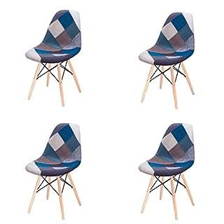 Comfortableplus Ensemble de 4 Chaises de Salle à Manger Modernes et Modernes, Recouvertes de Tissu Patchwork, avec Base en Bois à Chevilles (Bleu)