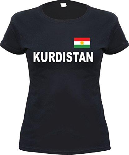 HB_Druck Kurdistan Damen T-Shirt mit Flagge Schwarz S