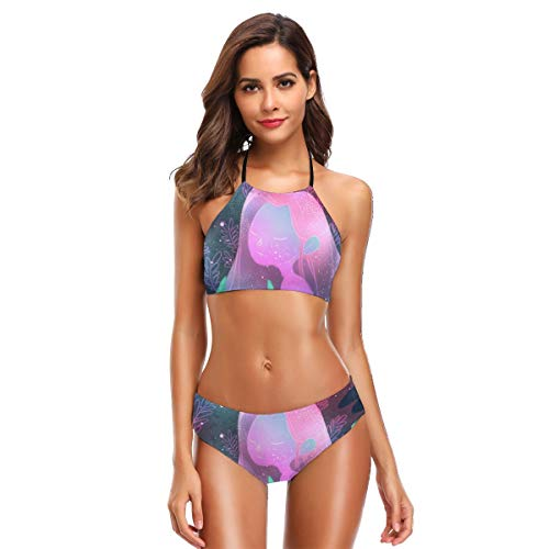 Metallic Schiere Bh (Space Girl und Ihr Haustier Damen Crop Top hoch taillierter Bikini Set Zweiteilige Badeanzüge S)