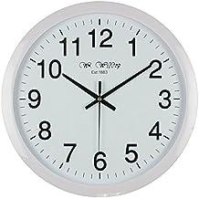 Reloj de pared de cuarzo estilo clásico, silencioso, 40 cm, tamaño grande, color blanco