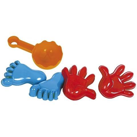 Gowi 558-56 - Juego de playa con moldes para la arena, forma de manos y pies (5 piezas en redecilla) [importado de