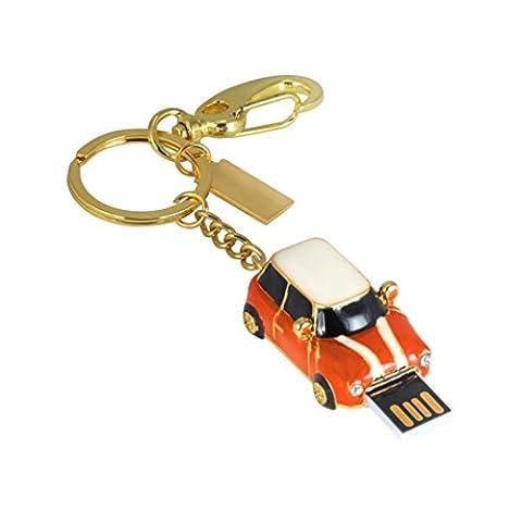 BZLine® Clé USB 2.0 | Stockage de Données | Capacité : 1, 2, 4, 8, 16, 32, 64Go | Forme d'un Porte-clé avec Voiture (Orange, 32 Go)