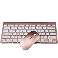 Sannysis Packs de teclado y ratón, 2.4 G inalámbrico, Mini teclado ultrafino (Oro Rosa)