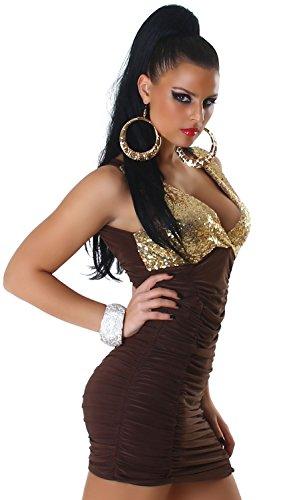Jela London Damen Träger-Kleid mit Pailletten verziert Einheitsgröße (34-38) braun Pailletten: gold
