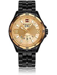 Naviforce reloj analógico cuarzo watch-men de Fashion Classic Vintage cuarzo reloj de pulsera de acero inoxidable, calendario, la fecha día pantalla (negro/oro)