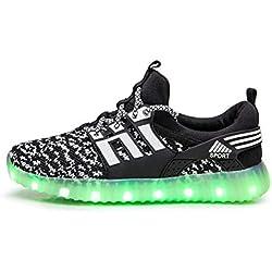 Licy Life-UK Unisex Niños Niñas Zapatos Zapatillas de LED 80 Colors USB Carga Luz Luminosas Flash Deporte para Deportivas para Navidad Fiesta de Regalo