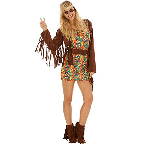 Frauenkostüm Lady Freedrom | Kurzes buntes Kleid inklusive Fransenweste und Haarband (XXL | Nr. 300931) (Sixties Kostüme Ideen)