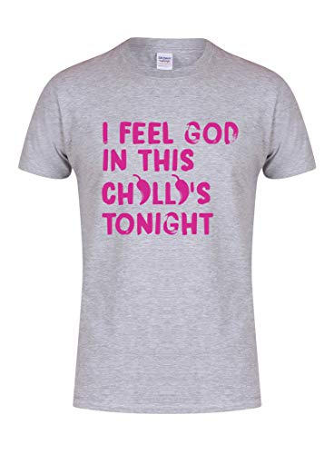 Unisex Youth Slogan T-Shirt I Feel God In This Chilli's Tonight Grey Large with Fuschia