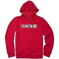 VIOY Casual Ropa de Hombre Otoño Invierno Suéter Flojo Cuello Redondo Pullover Cartas Imprimir Escudo,Rojo,XXXL