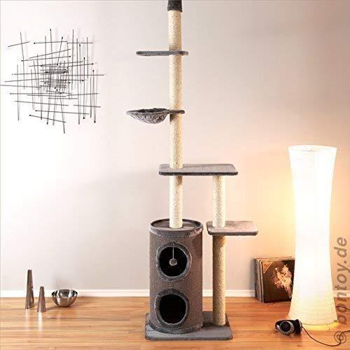 Bontoy Kratzbaum Filou in grau. Deckenhoch von 240 - 260 cm. Viel Platz zum Kratzen, Spielen und Toben.