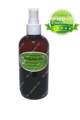 100% Pure Organic Argan Oil for Skin Hair Face & Nails Amber Bottle Comes with a Sprayer 8 oz