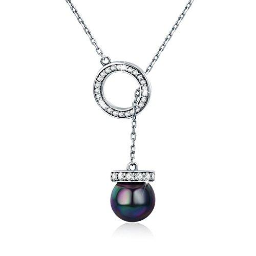 Collana di perle nere 8mm rotonda, 100% argento 925 collana lunga in argento per donna ragazza, regali anniversario, 18 pollici bj09071