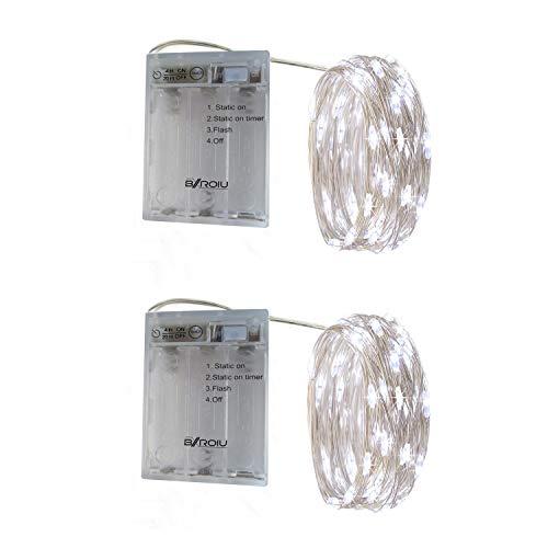 BXROIU 2 x 20er Micro LED Lichterkette Batterie betrieb und 3 Programm Timer Auf 2Meter Silberdraht für Party, Weihnachten, Halloween, Hochzeit Deko (Kaltes Weiß) -