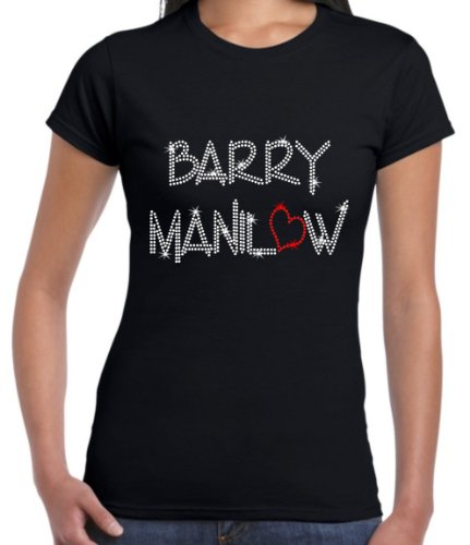 Designs4U Barry Manilow ~ Rhinestone Diamante Ladies Fit T Shirt XS - XXL