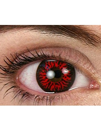 Dämon Kontaktlinsen Halloween schwarz rot