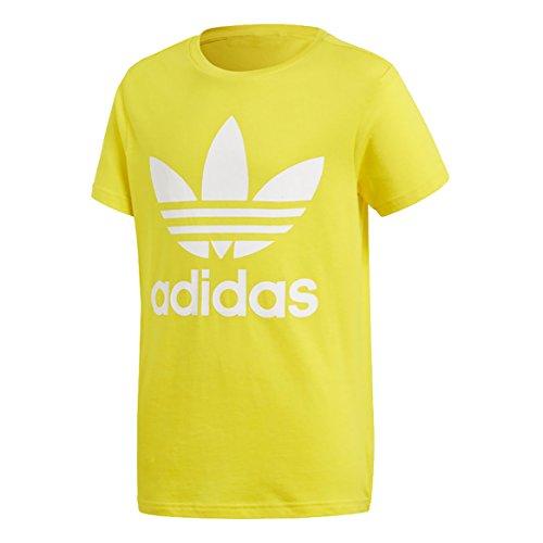 adidas Kinder Trefoil T-Shirt, Yellow/White, 134 (Gelb Logo T-shirt)