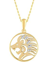 Silvernshine New D/VVS1 Diamond Leo Zodiac Pendant Necklace In 14K Yellow Gold Fn