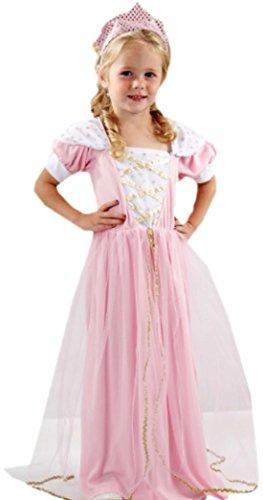 erdbeerclown - Mädchen Prinzessin Kostüm, Kleid, Karneval, Fasching, 2-teilig, 2-3 Jahre, Rosa-Weiß