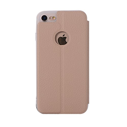 Custodia iPhone 8, Flip Premium Portafoglio Custodia in sintetica Protettiva Custodia [Cuffie Custodia] per iPhone 8. (Blu Scuro) Oro