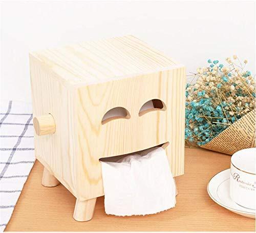WANDOM Abnehmbare Lächeln Gesicht Tissue Rollenpapier Holz Tissue Box Home Bad Auto Tissue Box Container Handtuch Serviette Log Tissue Holder (Log-servietten)