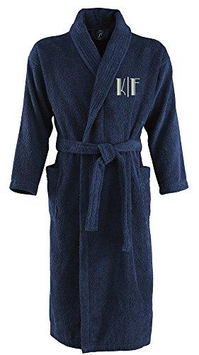 Preisvergleich Produktbild Bademantel aus 100% Baumwolle • Zwei aufgesetzte Seitentaschen • Passender Gürtel (Steffi L/XL Blau)