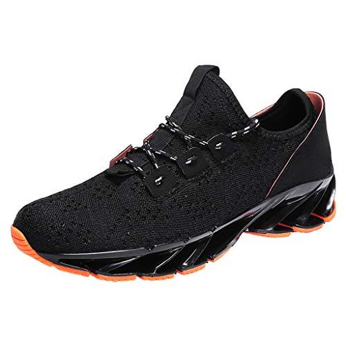 CUTUDE Sneaker Herren Sport Fitness Flach Zum Schnüren Elegant Laufschuhe Männer Teenager Mode Vintage Freizeit Für Outdoor Fitnessstudio (Schwarz, 44 EU) (Jordan Air Retro 5 Gelb)