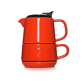 LC Prime® Artiart CASTLE Coffee Teapot Cup Snack Dish Plate All In one Ceramic stainless steel red 1