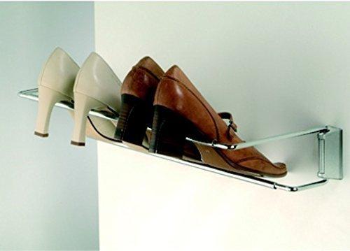 GedoTec® Schuhablage Schuhhalter Breite einstellbar 460 - 750 mm | Stahl verchromt | Schuhregal für Wandmontage | Markenqualität für Ihren Wohnbereich