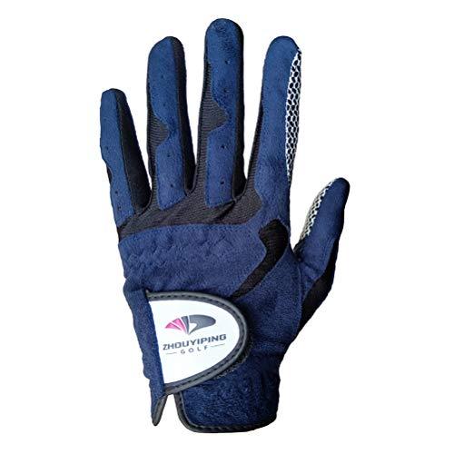 LIOOBO Sport Golfhandschuhe Herren Links Rechts All Weather Grip Golfhandschuhe für Linkshänder oder Rechtshänder (Dunkelblau 24 Yard Links) -