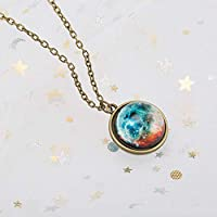Ztoma Pendant Necklace,Double-sided Glass Ball Pendant Gem,Universe Star Chain Necklace Jewelry Gifts