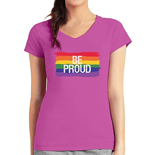 Be Proud - Geschenk mit Regenbogen Flagge CSD Shirt Damen T-Shirt  V-Ausschnitt