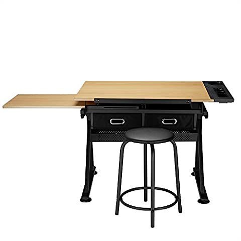 Tiltable Tabletop Drawing Table Home Office Durable W Stool And Two Drawers Desk