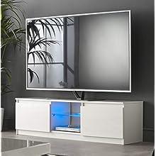 MMT RTV1400 - Mobiletto per TV con luci a LED, 40, 59, 50, 55, 60, 65 cm, 4 K, larghezza 140 cm