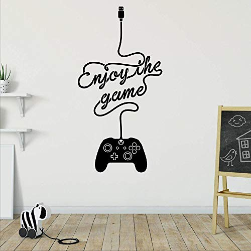 XCSJX Enjoy The Game Controller Wandaufkleber Spielzimmer Spieler Spieler Spielzeit Xbox 360 ps Game Controller Wandtattoo Vinyl 110cmhighx56cmwide
