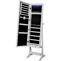 Songmics Portagioie Specchiera Stand Bloccabile con Chiavi con Luce a LED JBC94W