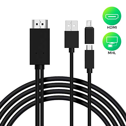 Cable Micro USB a HDMI, Adaptador de Cable Micro 5pin a 11pin MHL para teléfono Android a Monitor HDTV 1080P Compatible con Samsung Galaxy S5, S4, S3, Nota 3, Nota 2 (Negro)