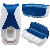 Portacepillos y dispensador de pasta de dientes con 5 ranuras de color azul