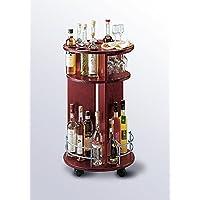 Carrello grappe di servizio rotondo. Carrello per distillati con portabicchieri e portabottiglie.