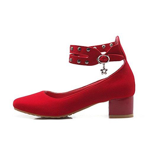 AllhqFashion Damen Schnalle Niedriger Absatz Nubukleder Rein Quadratisch Zehe Pumps Schuhe Rot