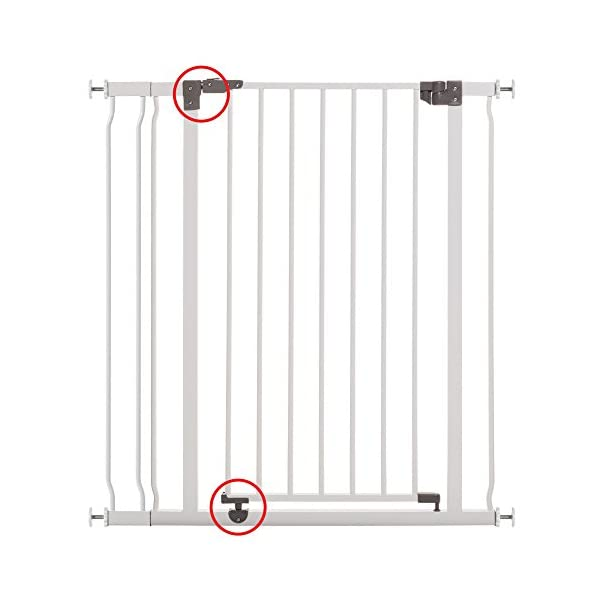 Dreambaby Liberty Xtra-Tall & Wide Safety Gate (Fits 99cm-106cm) White Dreambaby MEASURE YOUR OPENING BEFORE PURCHASING - This gate ONLY fits openings 99 to 106 cm. It will not fit any opening smaller than 99 cm. If your opening is larger than 106 cm you will require an additional purchase of an extension. VERSATILE AND DEPENDABLE- Our Dreambaby Liberty gate is loaded with features to not only help make your life easier but safer too. Versatile indeed, it can accommodate openings of 99 to 106 cm wide and is 93 cm tall. Using optional extensions sold separately, the gate can be extended up to 306 cm. ONE HANDED OPERATION - The One-Handed operation is fantastic for times when you're holding your child and the double locking feature ensures extra security to help keep your child safer. 4