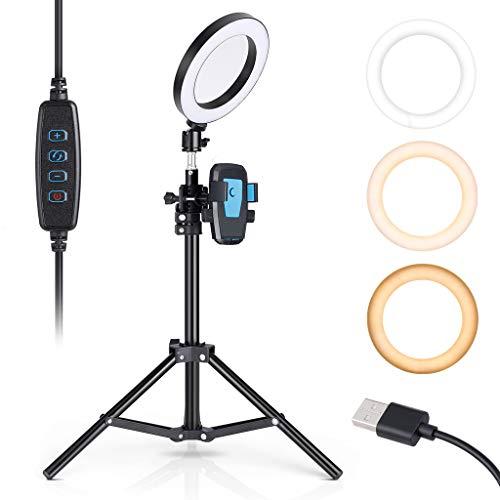 """CRAPHY Anillo de Luz LED, 6"""" Ring Light 3500-5500K para Fotografía y Maquillaje, Aro de Luz de 9 Modos de Brillo, con Mini-Trípode de Luz y Soporte para Móvil"""