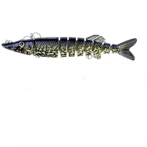 veapup 1PCS–mehrteilig Fisch Fake Fisch Köder 12,7cm/20g Bionic Angeln Lure Zubehör Kunststoff Angeln Köder einen Köder der Form der Pike zufällige Farben - Big Rig Spinner