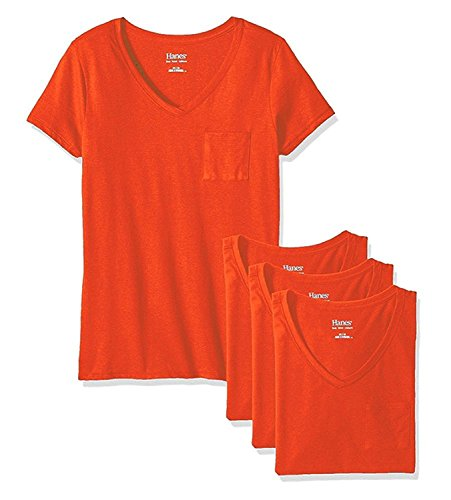 Hanes Damen Short Sleeve Jersey V-Neck Pocket Tee (4 Stück), Orange, SYNCHKG121041 (Hanes-pocket-tees)