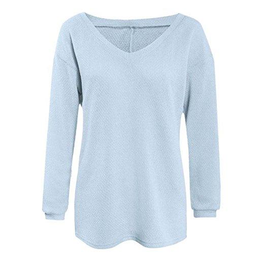 IHRKleid® Pullover Damen Über Pullover Langarm-lose Pullover stricken Blau