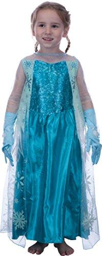 Kostüme Die Zum Besten Halloween (Mädchen Eiskönigin Prinzessin Elsa Schneeprinzessin Kostüm Kinder - Handschuhe und Kleid - Gr 104 cm (3-4)