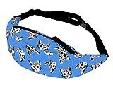 Alsino Unisex Bauchtasche Festival Hippie Hipster Gürteltasche mit Reißverschluss und Innenfach - 13 cm Breit - All-Over Print Motiv, GT-131 Katze blau